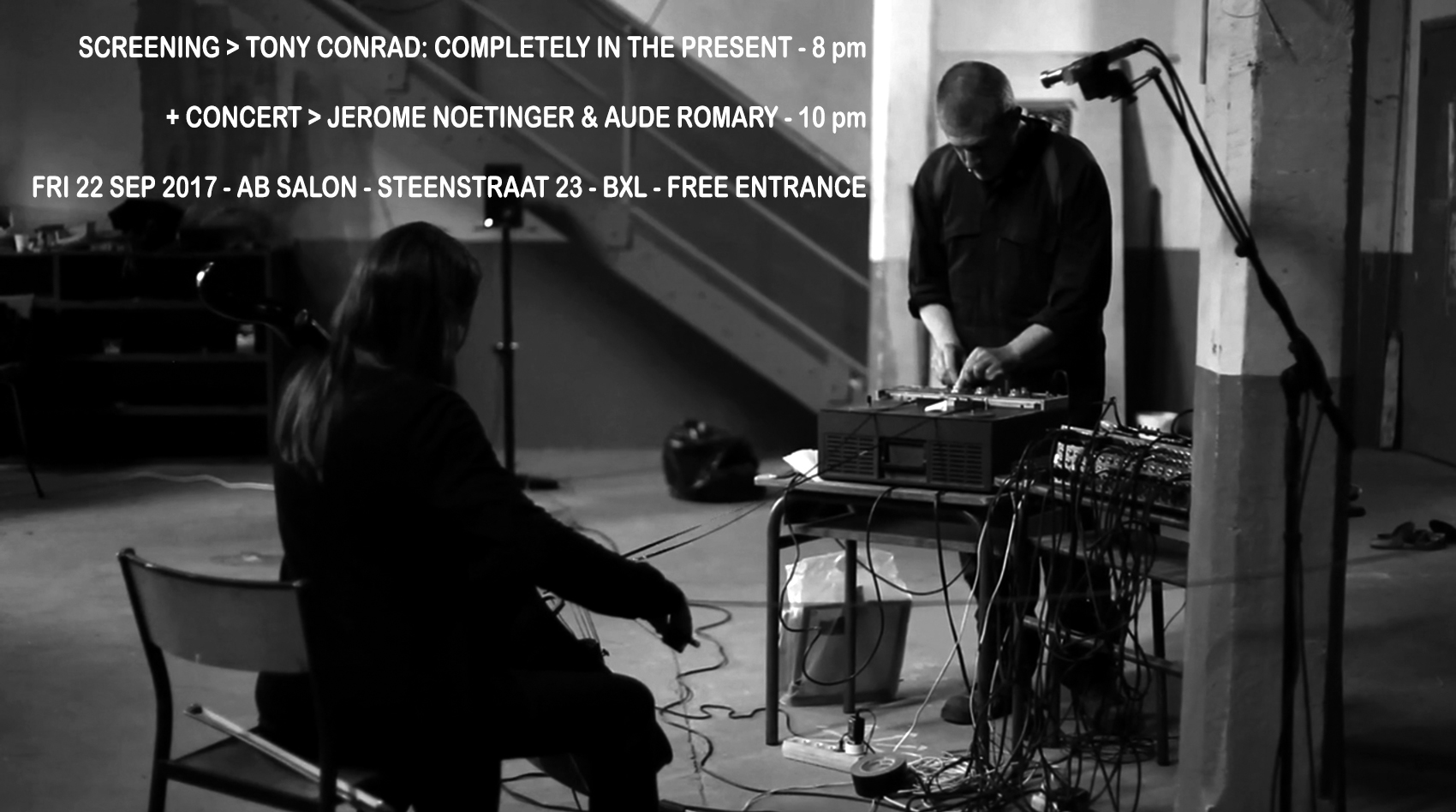SCREENING TONY CONRAD + CONCERT JEROME NOETINGER – AUDE ROMARY AT AB SALON > GRATIS